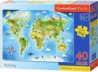 Puzzle 40 Maxi Castorland B-040117 Mapa Świata