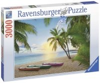 Puzzle 3000 Ravensburger 170715 Tropiki - Łódki na Plaży