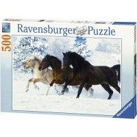 Puzzle 500 Ravensburger 141401 Konie Galopujące w Śniegu