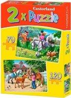 Puzzle 2w1 - 70, 120 - Castorland - B-021062 Jazda Konna - Horse Riding