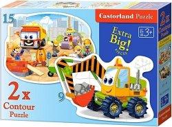 Puzzle 2w1 Castorland 15, 9 - Plac Budowy 020065