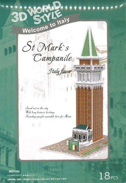 Puzzle 3D CubicFun 18 Domki Świata - Włochy - St. Marks Campanile W3116h