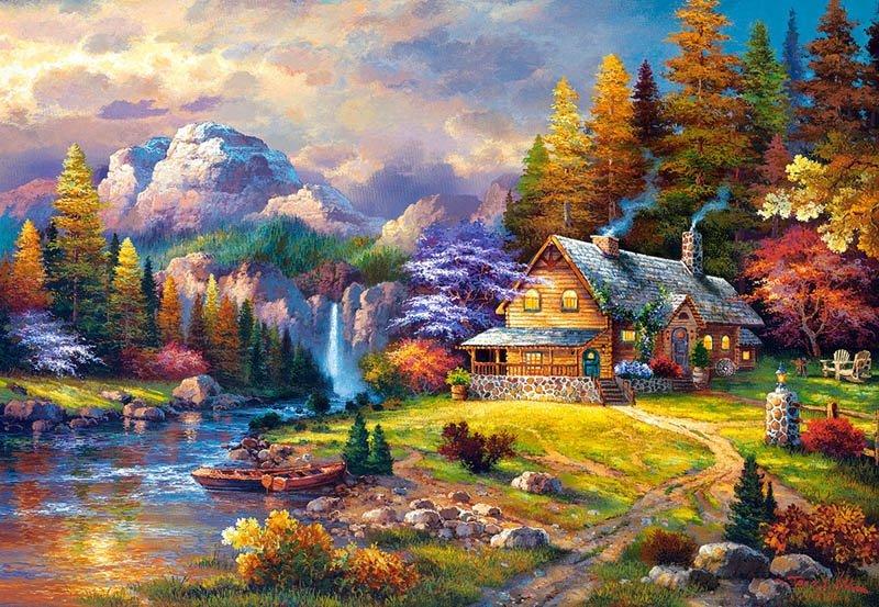 Puzzle 1500 Castorland C-151462 Domek - Mountain Hideaway_01