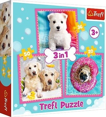 Puzzle 3w1 Trefl T-34845 Pieski w Kąpieli