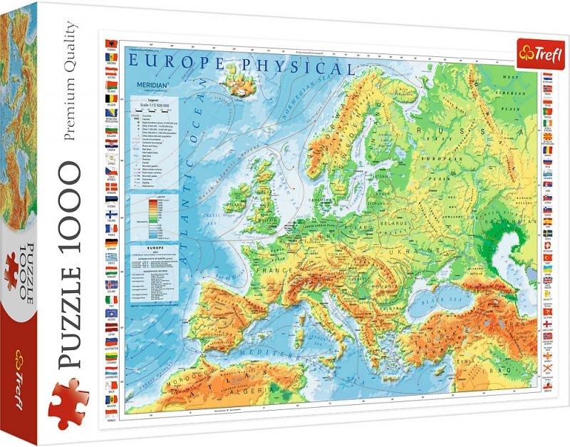 Puzzle 1000 Trefl 10605 Mapa Fizyczna Europy