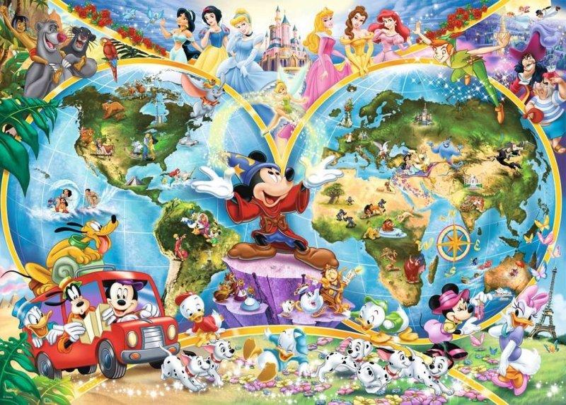 Puzzle 1000 Ravensburger 157853 Disney Mapa Świata