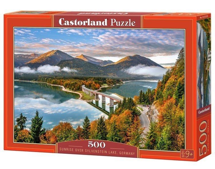 Puzzle 500 Castorland B-53353 Jezioro - Sunrise Over Sylvenstein Lake -  Niemcy