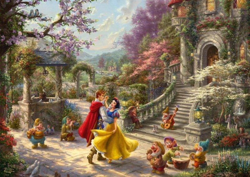 Puzzle 1000 Schmidt 59625 Thomas Kinkade - Królewna Śnieżka i Siedmiu Krasnoludków - Disney