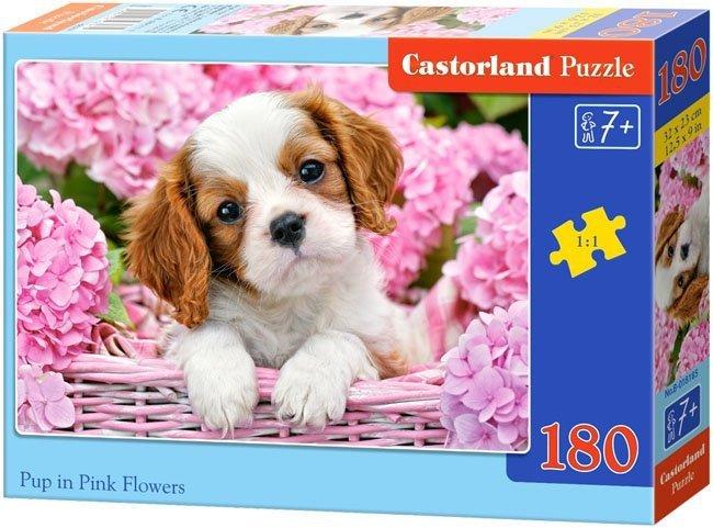 Puzzle 180 Castorland B-018185 Piesek w Kwiatach