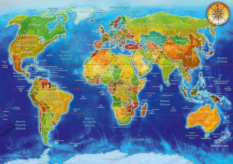 Puzzle 1000 Bluebird 70337 Adrian Chesterman - Mapa Geopolityczna Świata