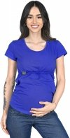 MijaCulture - bluzka 2 w 1 ciążowa i do karmienia krótki rękaw M03/3074 niebieski