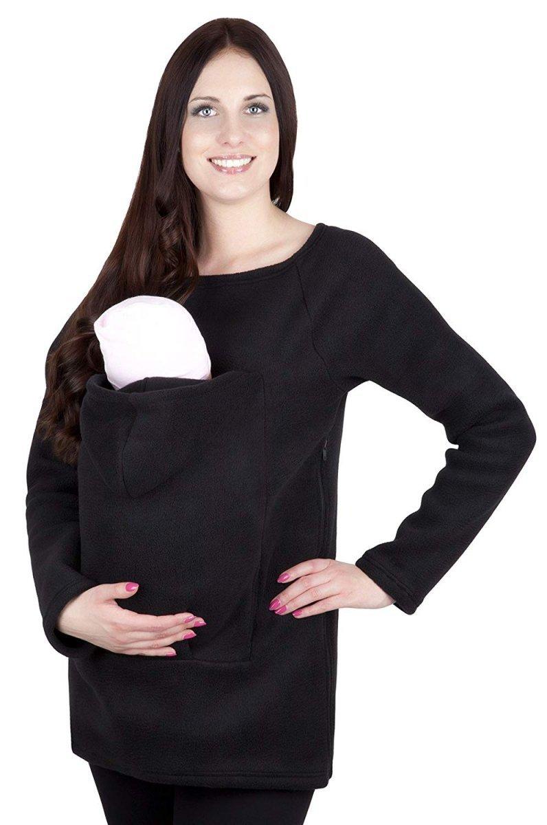 308297e71d7aac Wygodna bluza polarowa do noszenia dziecka + komin 1107 czarny