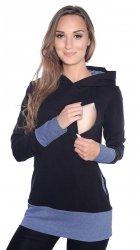 """MijaCulture – 3 w 1 bluza ciążowa i do karmienia """"Mona"""" 1035 czarny/jeans"""