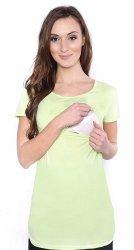 MijaCulture - bluzka 2 w 1 ciążowa i do karmienia krótki rękaw 1102 pistacja
