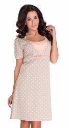 Elegancka koszula 2 w 1 ciążowa i do karmienia 5062/4044 beż
