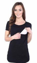 MijaCulture - bluzka 2 w 1 ciążowa i do karmienia krótki rękaw 1102 czarny