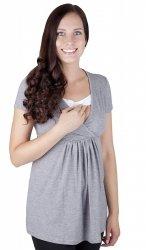"""MijaCulture - bluzka ciążowa 2 w 1 ciążowa i do karmienia krótki rękaw """" Dora"""" 7104  melanż"""