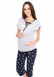 MijaCulture - piżama 3 w 1 ciążowa i do karmienia 4117/M77 melanż/granat