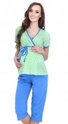 Urocza piżama 2 w 1 ciążowa i do karmienia 5001/654 zielony/niebieski
