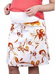 MijaCulture - spódnica ciążowa w kwiaty 1044/M64 pomarańczowy