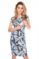 MijaCulture - zjawiskowa sukienka 2 w 1 ciążowa i do karmienia Lia czarna/kwiaty