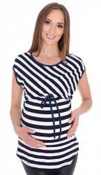 MijaCulture - 2 w 1 bluzka ciążowa i do karmienia w paski 4093/M65 biały/granat