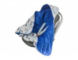 Kocyk z kapturkiem do fotelika Minky F023 auta/niebieski