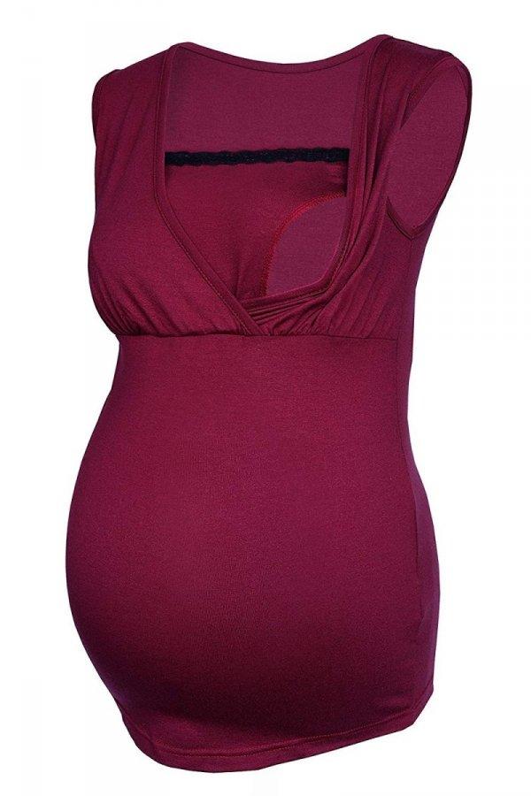 MijaCulture - top ciążowy i do karmienia z koronką 4032/M45 bordo 1