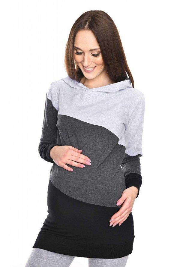 Wygodna bluza ciążowa i do karmienia 9094 czarny/melnż 1