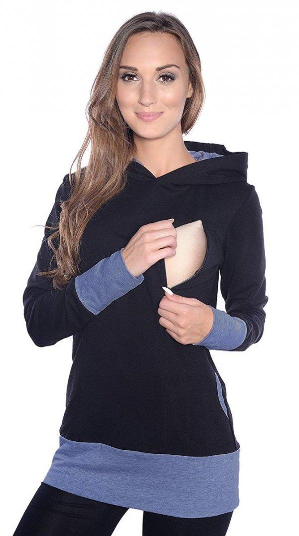 """3 w1 bluza ciążowa i do karmienia """"Mona"""" 1035 czarny/jeans 1"""