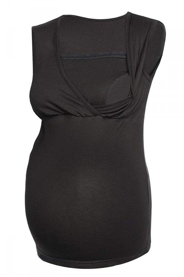 MijaCulture - top ciążowy i do karmienia z koronką 4032/M45 czarny 1