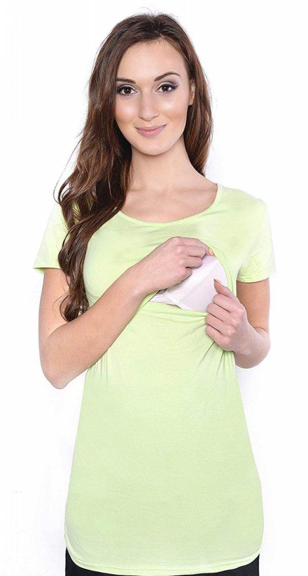 MijaCulture - bluzka 2 w1 ciążowa i do karmienia krótki rękaw 1102 pistacja 1