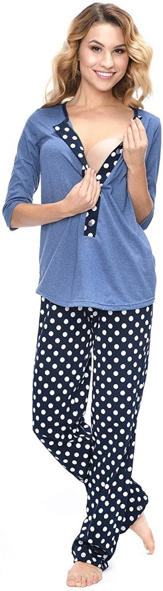 MijaCulture - 3 w 1 piżama ciążowa i do karmienia 4054/M52 niebieski/granat2
