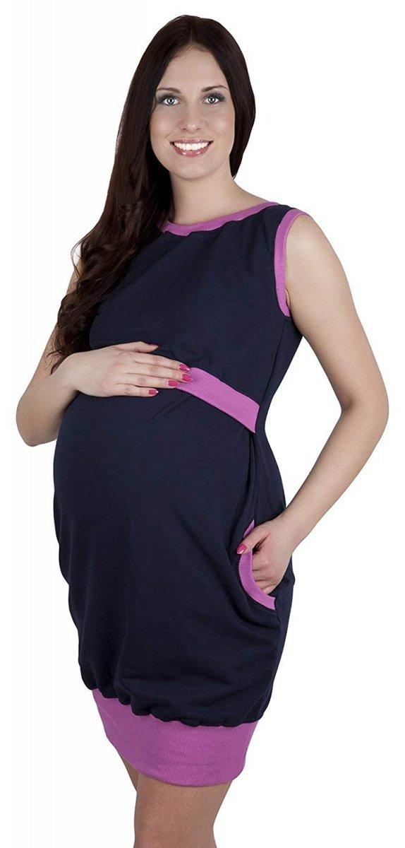 """MijaCulture - 2 w1 sukienka ciążowa i do karmienia """"Fiona"""" 7111 ciemny granat/ róż 4"""