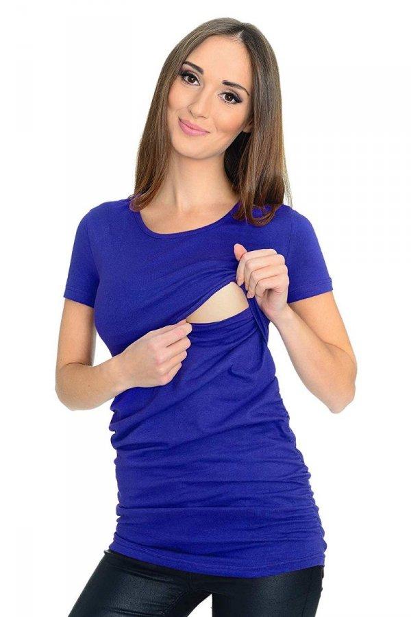 MijaCulture - bluzka 2 w 1 ciążowa i do karmienia krótki rękaw M03/3074 niebieski 1