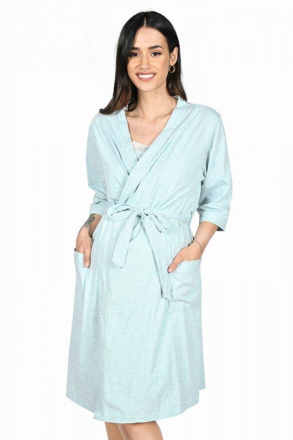 MijaCulture - 2 w 1 komplet koszula nocna i do karmienia + szlafrok 2077 niebieski