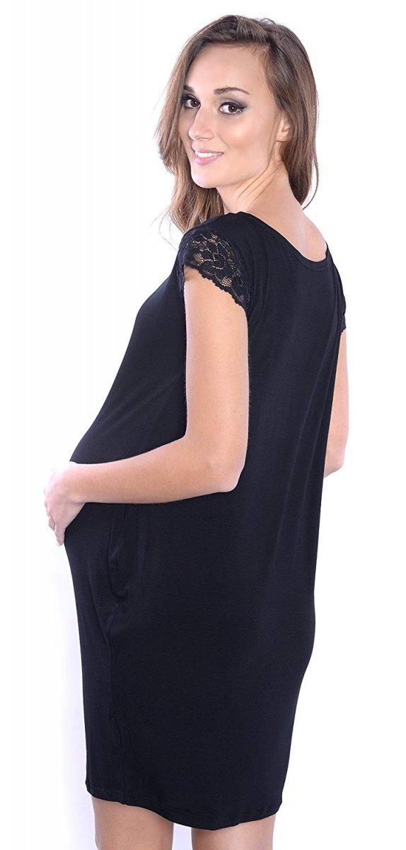 "Elegancka sukienka ciążowa z koronką ""Klara"" 9070 czarny 2"