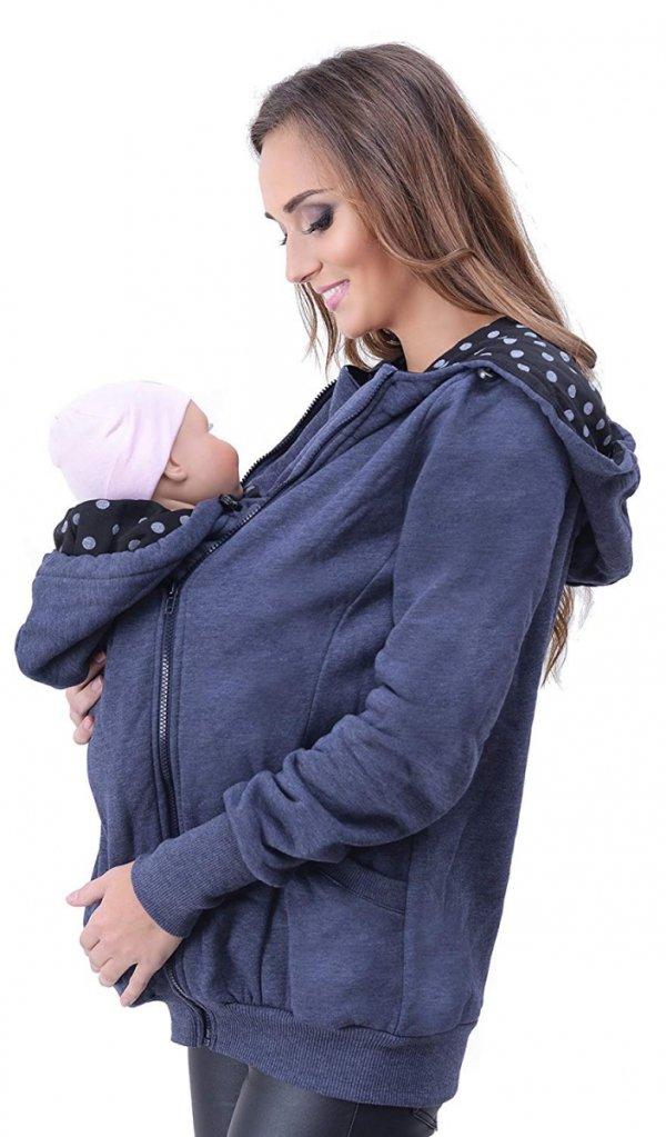 3 w1 bluza 3D ciążowa i do noszenia dziecka 4046/M50 jeans 1