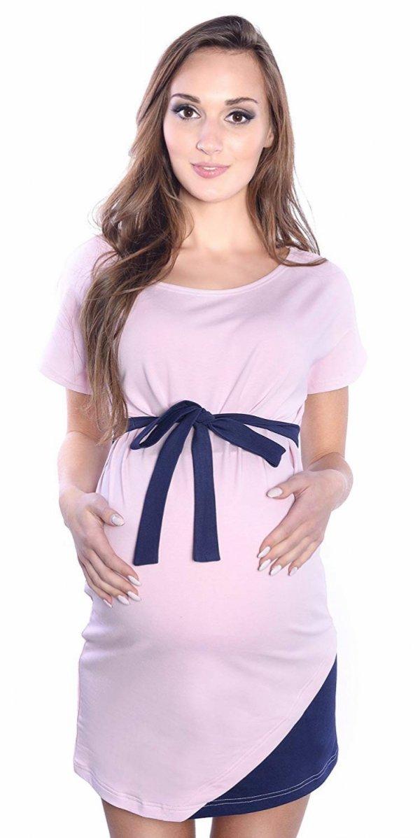 """Wyjątkowa sukienka ciążowa z ozdobnym paskiem """"Ines"""" 9072 jasny róż 1"""