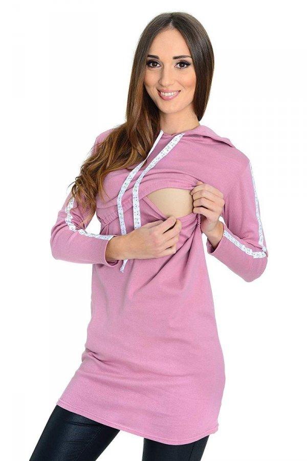 """bluza 3 w 1 ciążowa i do karmienia z kapturem """"Melanie"""" 7136 różowy 2"""