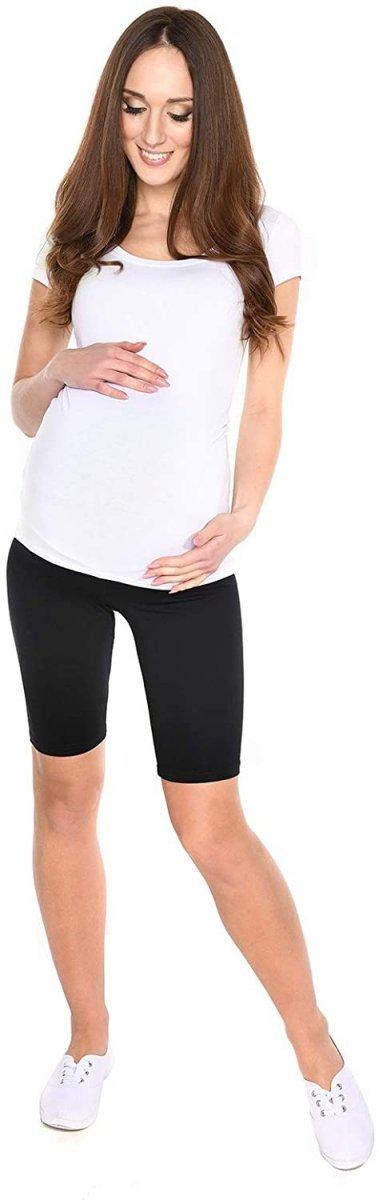 Wygodne krótkie legginsy ciążowe Mama 1052/2 komplet czarny/fiolet3