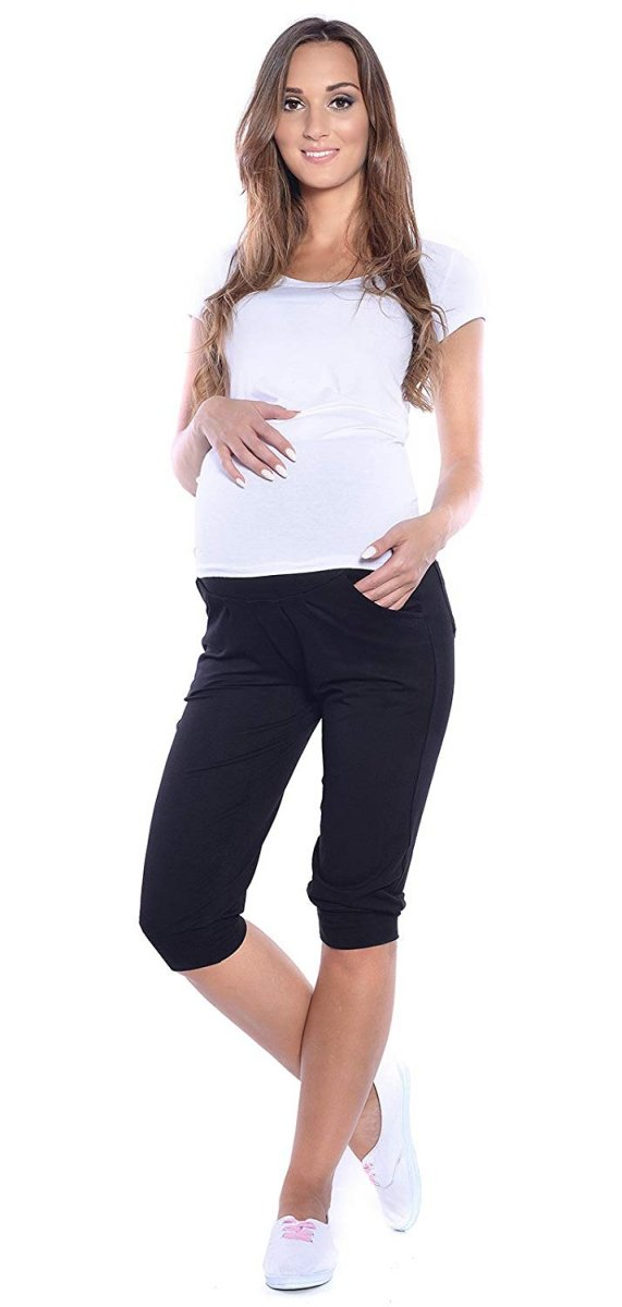 MijaCulture - spodnie rybaczki /alladynki ciążowe 4037/ M48 czarny 2
