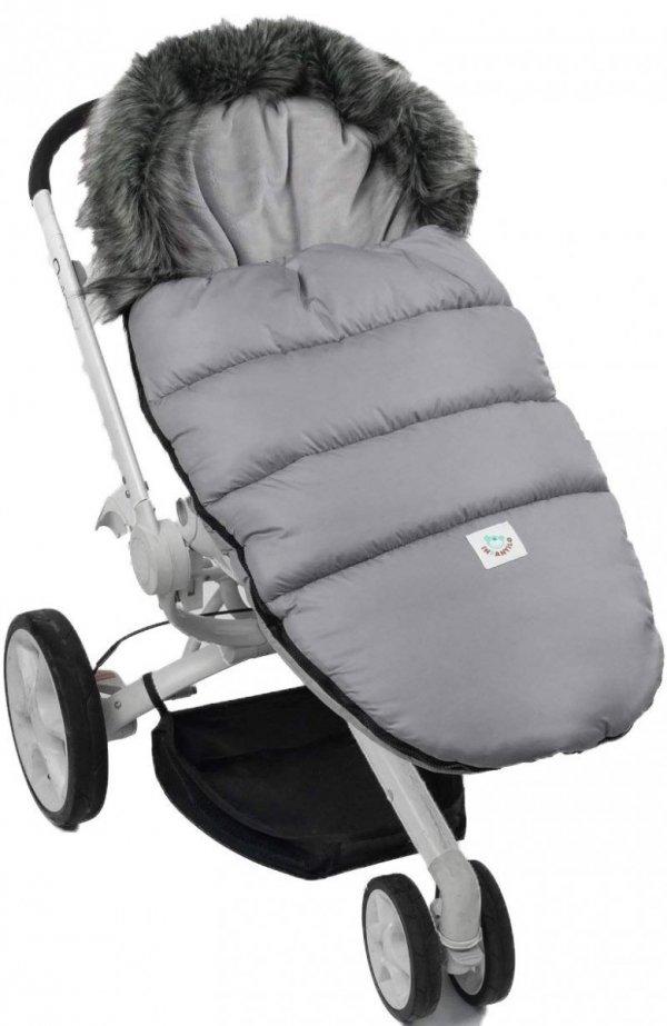 Ciepły śpiworek do spacerówki wózka Fluffy F024 szary