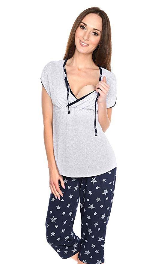 MijaCulture - piżama 3 w 1 ciążowa i do karmienia 4117/M77 melanż/granat 2