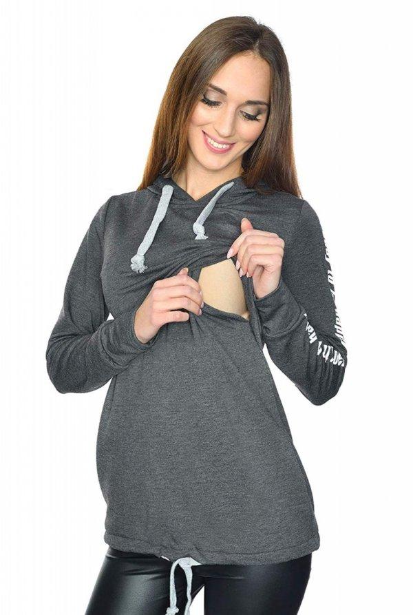 MijaCulture - 3 w 1 bluza ciążowa i do karmienia M68 4110 grafit Happy 2