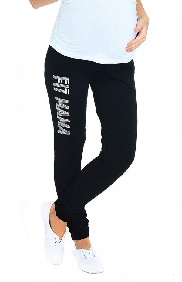 """Wygodne spodnie ciązowe dresowe """"Fit Mama"""" 9077 czarne 4"""