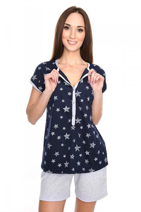 MijaCulture - 3 w 1 piżama ciążowa i do karmienia M79 granat/gwiazdki/melanż 2