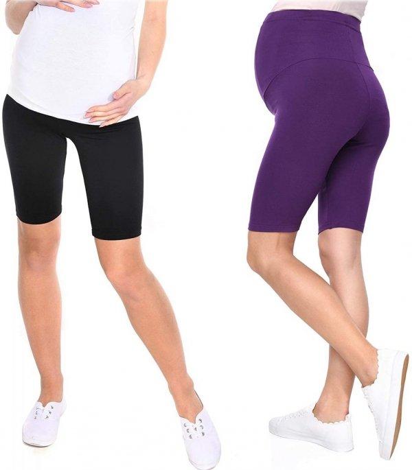 Wygodne krótkie legginsy ciążowe Mama 1052/2 komplet czarny/fiolet1