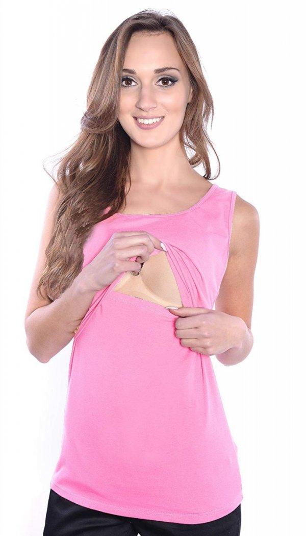 MijaCulture - top 2 w1 ciążowy i do karmienia 1109 jasny róż 2