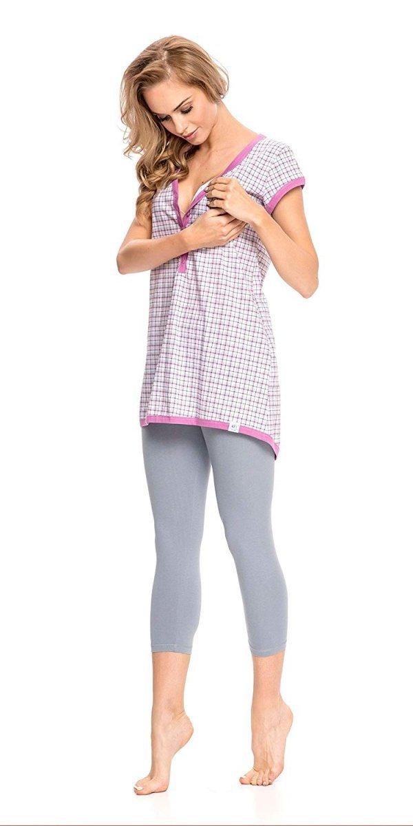 """Wyjątkowa piżama 2 w 1 ciążowa i do karmienia """"Hebe"""" 5051 fuksja 2"""